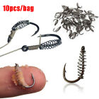 10Pcs Fish Jig Hooks with Hole Fishing Tackle Bag 11 Sizes Carbon Steel