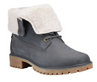 Timberland Women's Jayne Waterproof Teddy Fleece Foldover Boots Dark Grey