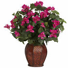 "Artificial 24.5"" Bougainvillea Pink Flowers Arrangement with Burgundy Weave Vase"