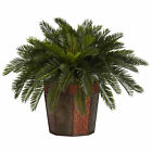 "Artificial 22"" Cycas Palm Plant with Burgundy Floral Octagon Vase"