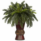 "Artificial 29"" Cycas Palm Plant with Burgundy Bamboo Vase"