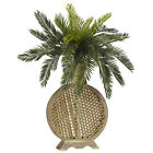 "Artificial 25"" Cycas Palm Tree Silk Plant with Decorative Cross-Hatch Vase"