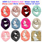 Внешний вид - C.C CHILDREN's Winter Cable Knit Sherpa Lined Warm INFINITY Pullover CC Scarf