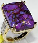 Mojave Purple Turquoise, Diamond Ring 14K YG Over Sterl Silver (Size 9) 35.44 Ct