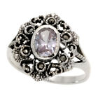 """Sterling Silver Marcasite Hexagon-shaped Ring, w/ Oval Cut CZ Stone, 3/4"""" (20"""
