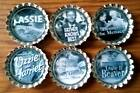 Six Classic Family TV Shows on Silver Bottle Cap Magnets
