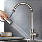 Brass Kitchen Sink Faucet Pull Down Sprayer Spout Swivel Mixer  Brushed Pull out