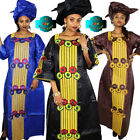 African Dresses For Women Fashion Design Bazin Embroidery Long Dress with Scarf