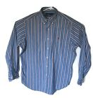Mens Ralph Lauren Classic Fit Blue White Striped Long Sleeve Button Shirt Large