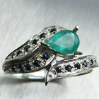 Natural Colombian Emerald 925 Sterling silver   Gold 9ct 14k 18k ring all sizes