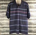 NEW NWT Izod Shirt Top Men's Size Striped Polo Rugy Blue  L LARGE