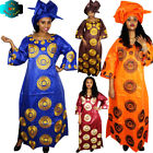 "African Dresses For Women"" Fashion Design Bazin Embroidery Long Dress with Scarf"