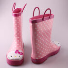 Girl's Hello Kitty Pink Polka Dotted Cutie Rain Boots Size 9