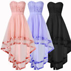 Women Lady Strapless High Low Prom Dress Maxi Evening Formal Bridesmaid Dresses