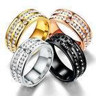 Men Women 8MM Stainless Steel CZ Titanium Ring Band Size 6-12 Engagement Wedding image
