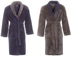 Mens Fleece Dressing Gown Navy Blue Grey Luxury Coral Thick Robe Shawl Collar