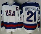 1980 Miracle on Ice Team USA Mike Eruzione 21 Hockey Jersey White All Stitched