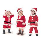 Baby Boy Girl First Christmas Xmas Santa Costume Dress Outfit Clothes Hat Props