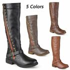 Winter Women's Leather Boots Knee High Rivet Equestrian Ridi