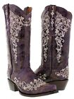 Womens Distressed Purple Leather Rhinestone Cowboy Cowgirl Boots Casual Riding