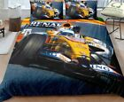 3D Beddinf SET F1 Style Yellow Race Car Motor Sports Speeding up on a Track NEW