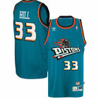 Grant Hill #33 Detroit Pistons Men's Teal Hardwood Classics Throwback Jersey