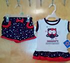 Owl America's Sweetheart Patriotic Outfit Shorts and Shirt Top 0 3 6 9 18 month