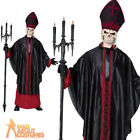 Mens Zombie Priest Costume Adult Black Mass Halloween Skull Fancy Dress Outfit