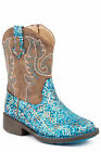 Roper Girls Toddlers Blue Faux Leather Glitter Aztec Cowboy
