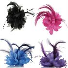 Women Fascinator Flower Feather Corsage Bridal Wedding Races Hair Clip Brooch US