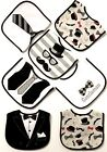 Set of 7 Baby Boy Cotton Waterproof Bib Tuxedo Formal Bow Tie Gentleman Feeding
