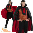 Mens Vampire Costume Gothic Count Dracula Halloween Horror Fancy Dress Outfit