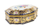 French Sevre Beautiful Oval Porcelain Box w/Cobalt & Gold accents