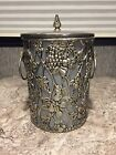 Vintage Silver Overlay Ice Wine Bucket Cooler Grapes Grape Leaves