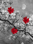 Red Gray Wall Art, Red Gray Wall Pictures, Red Flowers, Home Decor Wall Decor