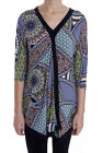 Joseph Ribkoff Vibrant Navy/Multi Patterned V-Neck Tunic Top 182554 New Season