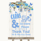 Wedding Sign Poster Print Blue Rustic Wood Cards  Gifts Table