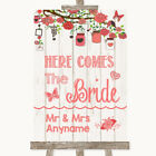 Wedding Sign Poster Print Coral Rustic Wood Here Comes Bride Aisle Sign