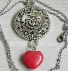 Antique Silver Plt Rose & Rhodochrosite Heart Pendant Necklace Ladies GIft Reiki