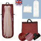 180CM White/ Red Long Garment Wedding Dress Hanging Storage Bag Cover UK Seller