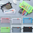 Transparent Student Pen Pencil Case Zip Mesh Portable Pouch Makeup Bag Storage