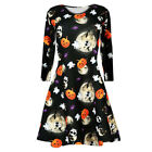 Women Pleated Halloween Retro Lace Vintage Dress A Line Pumpkin Swing Midi Dress
