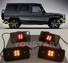 US STOCK 4X SMOKED Lens LED Side Marker Lights Amber & Red Mercedes W463 G Wagon