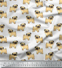 Soimoi Dressmaking Pug Dog 58 Inches Wide Decorative Cotton Fabric By The Yard