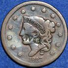 Coronet cent 1837 countermarked W.G. Large cant United States