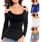 Women's Cold Shoulder Strapless Long Sleeve Pullover Tops Blouse Autumn T-Shirt