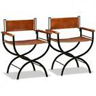 Retro Dining Table Chairs Set of 2 Director Vintage Leather Upholstered Seats