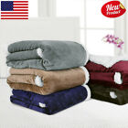 "60"" x 80"" Flannel/Sherpa Reversible Winter Throw Blanket Plush Soft Cozy Warm US image"