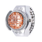 Fashion Women Jewelry Round Finger Ring Watch Stone Steel Elastic Lady Girl Gift