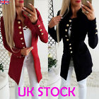 UK Womens Ladies Slim Fit Blazer Open Front Suit Jacket Breasted Coats Tops 6-16